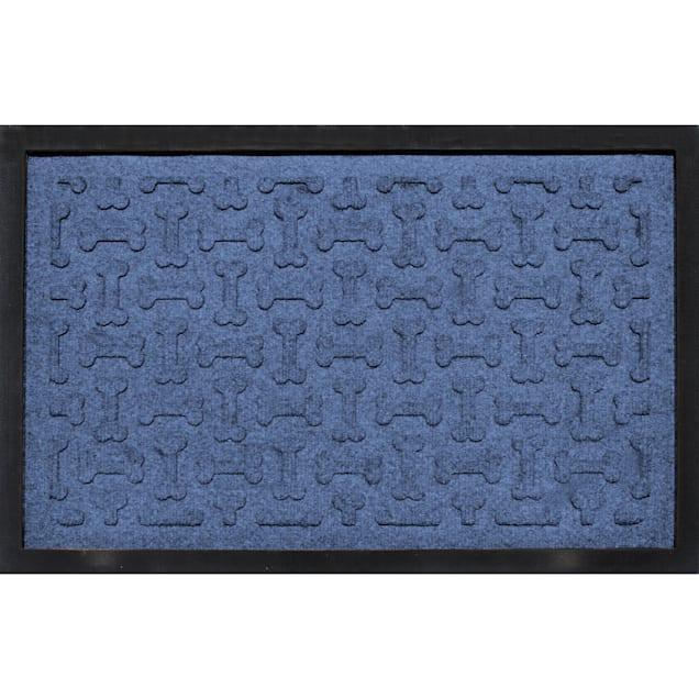 "Bungalow Flooring Bone Treats Feeding Tray Navy Dog Mat, 27"" L x 18"" W - Carousel image #1"