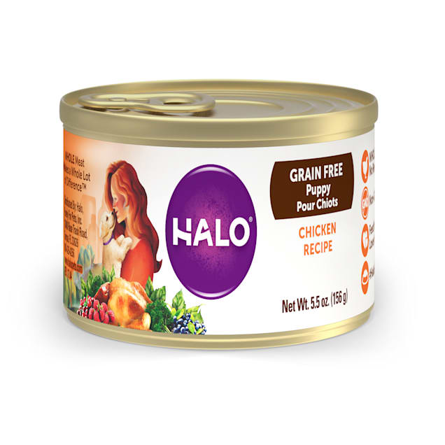 Halo Puppy Holistic Grain Free Chicken Recipe Canned Food, 5.5 oz., Case of 12 - Carousel image #1