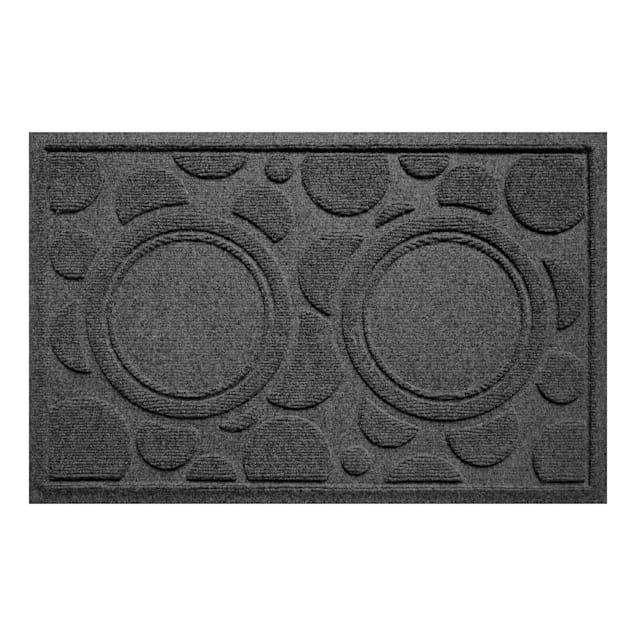 "Bungalow Flooring Bowl Dots Charcoal Dog Mat, 27"" L x 18"" W - Carousel image #1"