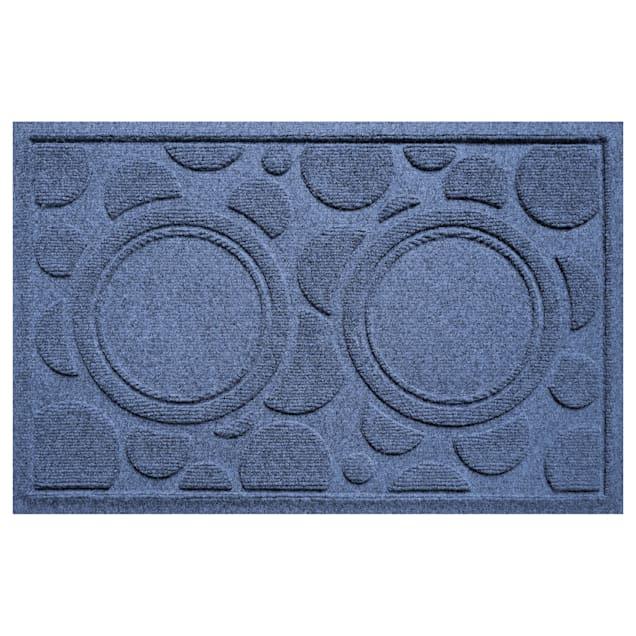 "Bungalow Flooring Bowl Dots Navy Dog Mat, 27"" L x 18"" W - Carousel image #1"