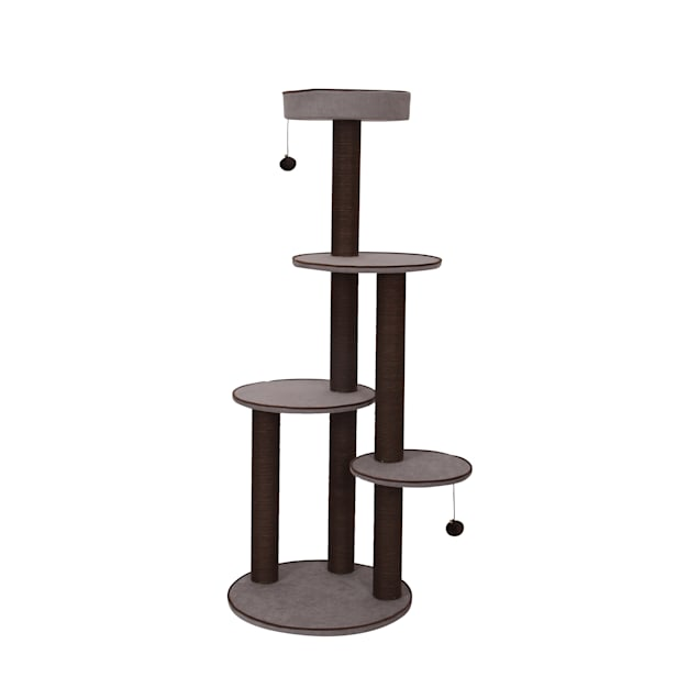 """PetPals Group Canyon Chenille Four Level Cat Tree With Spacious Perches & Paper Rope Post, 59"""" H - Carousel image #1"""