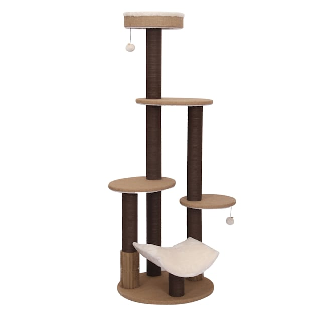 """PetPals Group Clement Fleece Multi-Level Cat Tree With Rubber Massager & Perches, 61"""" H - Carousel image #1"""