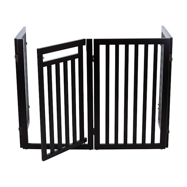 "TRIXIE Dog Barrier Four Panel Espresso Gate, 80""-20"" L x 2"" W x 31.5"" H - Carousel image #1"