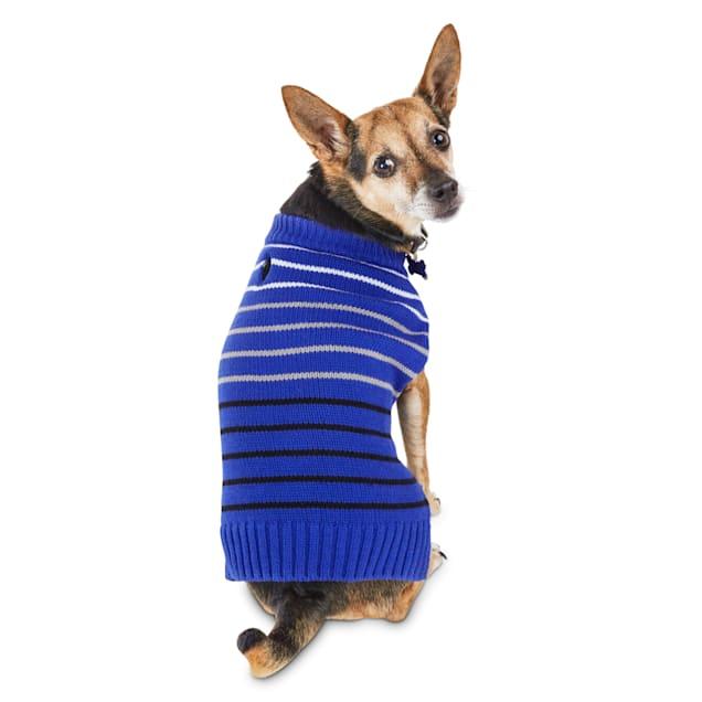Bond & Co. Blue Knit Striped Dog Sweater, XX-Small - Carousel image #1