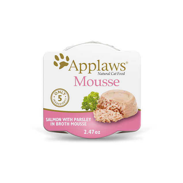 Applaws Natural Mousse Salmon with Parsley Wet Cat Food, 2.47 oz., Case of 12 - Carousel image #1