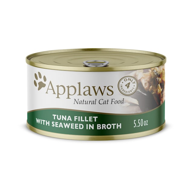 Applaws Natural Tuna Fillet with Seaweed in Broth Wet Cat Food, 5.5 oz., Case of 24 - Carousel image #1