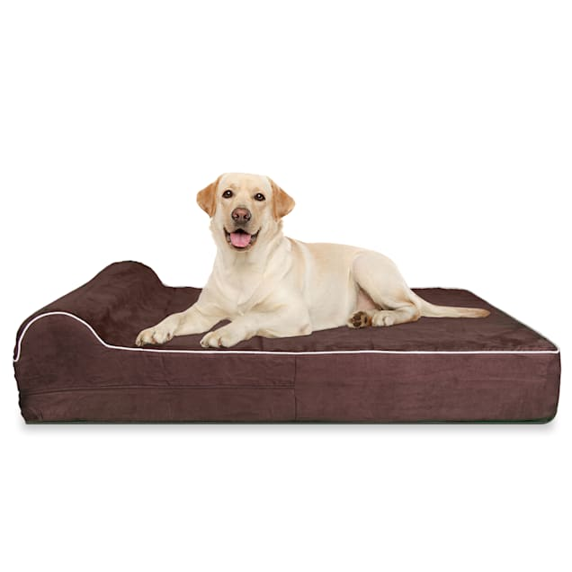 """Kopeks Orthopedic Brown Bed with Pillow for Dogs, 50"""" L X 34"""" W X 7"""" H - Carousel image #1"""