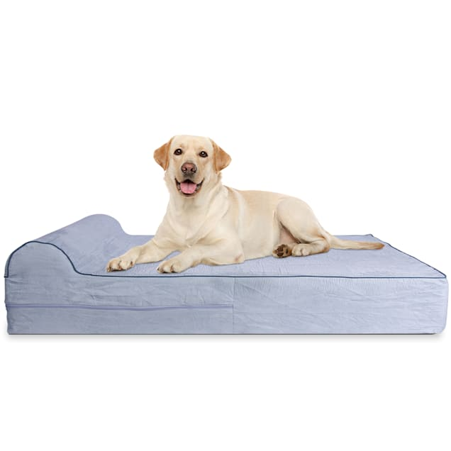 """Kopeks Orthopedic Grey Bed with Pillow for Dogs, 50"""" L X 34"""" W X 7"""" H - Carousel image #1"""