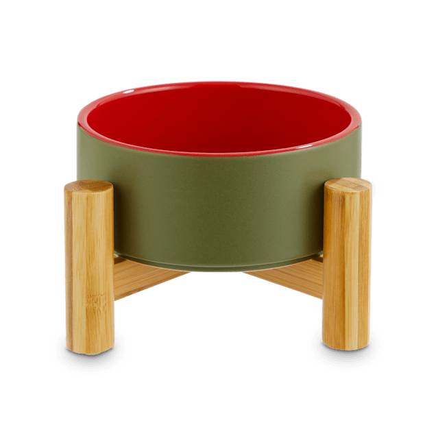 Reddy Olive Ceramic & Bamboo Elevated Pet Bowl, 3.5 Cups - Carousel image #1