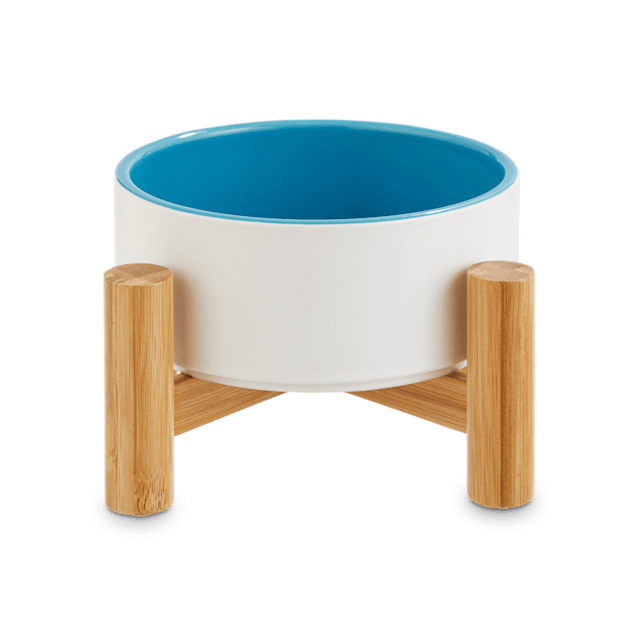 Reddy White Ceramic & Bamboo Elevated Pet Bowl, 3.5 Cups - Carousel image #1