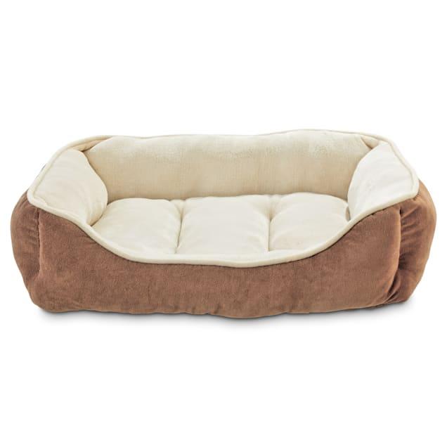 "Animaze Brown Bolster Dog Bed, 24"" L X 18"" W X 7"" H - Carousel image #1"