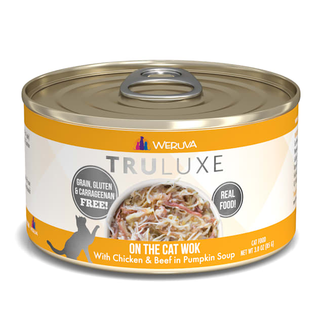 Weruva TruLuxe On The Cat Wok with Chicken & Beef in Pumpkin Soup Wet Cat Food, 3 oz., Case of 24 - Carousel image #1