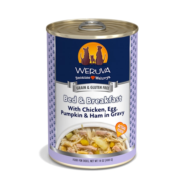 Weruva Classics Bed & Breakfast with Chicken, Egg, Pumpkin & Ham in Gravy Wet Dog Food, 14 oz., Case of 12 - Carousel image #1