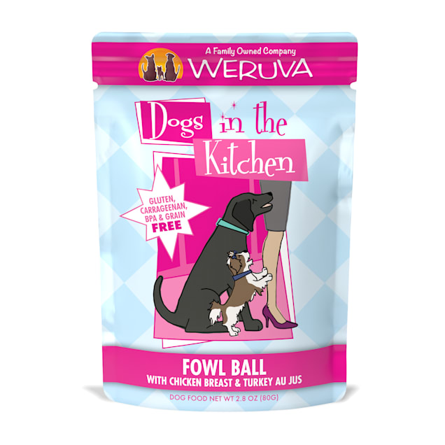 Dogs in the Kitchen Fowl Ball with Chicken Breast & Turkey Au Jus Wet Dog Food Pouches, 2.8 oz., Case of 12 - Carousel image #1