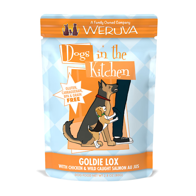 Dogs in the Kitchen Goldie Lox with Chicken & Wild Caught Salmon Au Jus Wet Dog Food Pouches, 2.8 oz., Case of 12 - Carousel image #1