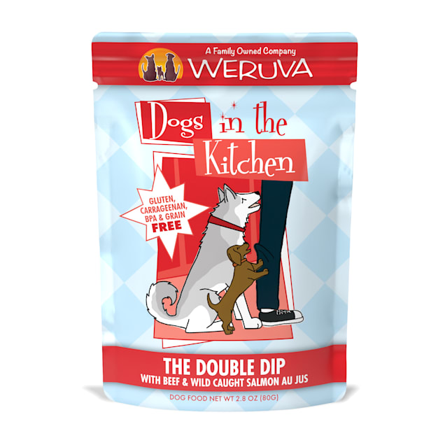 Dogs in the Kitchen The Double Dip with Beef & Wild Caught Salmon Au Jus Wet Dog Food Pouches, 2.8 oz., Case of 12 - Carousel image #1