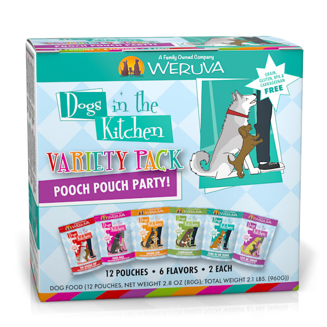 Dogs in the Kitchen Pooch Pouch Party! Variety Pack Wet Dog Food, 2.8 oz., Count of 12 - Carousel image #1
