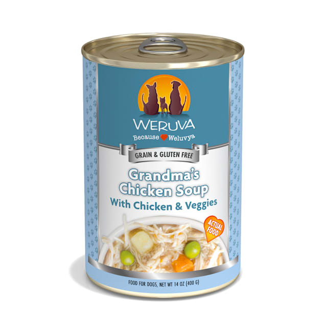 Weruva Classics Grandma's Chicken Soup with Chicken & Veggies Wet Dog Food, 14 oz., Case of 12 - Carousel image #1