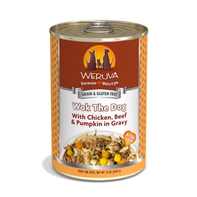Weruva Classics Wok the Dog With Chicken, Beef & Pumpkin in Gravy Wet Dog Food, 14 oz., Case of 12 - Carousel image #1