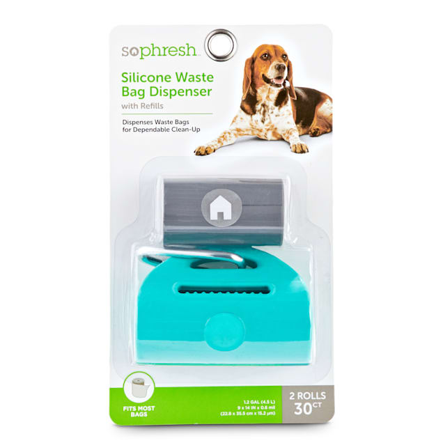So Phresh Silicone Dog Waste Bag Dispenser in Assorted Colors with Refills, Count of 30 - Carousel image #1