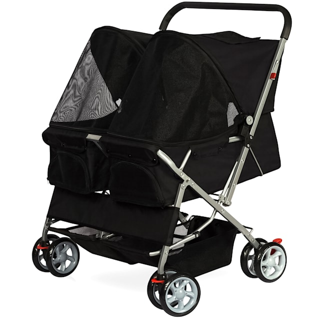 Paws & Pals Twin Double Folding Black Pet Stroller - Carousel image #1