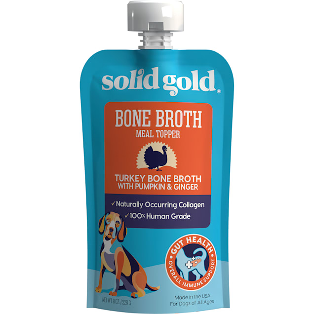Solid Gold Turkey Bone Broth with Pumpkin & Ginger Topper with Collagen Wet Dog Food, 8 oz., Case of 12 - Carousel image #1
