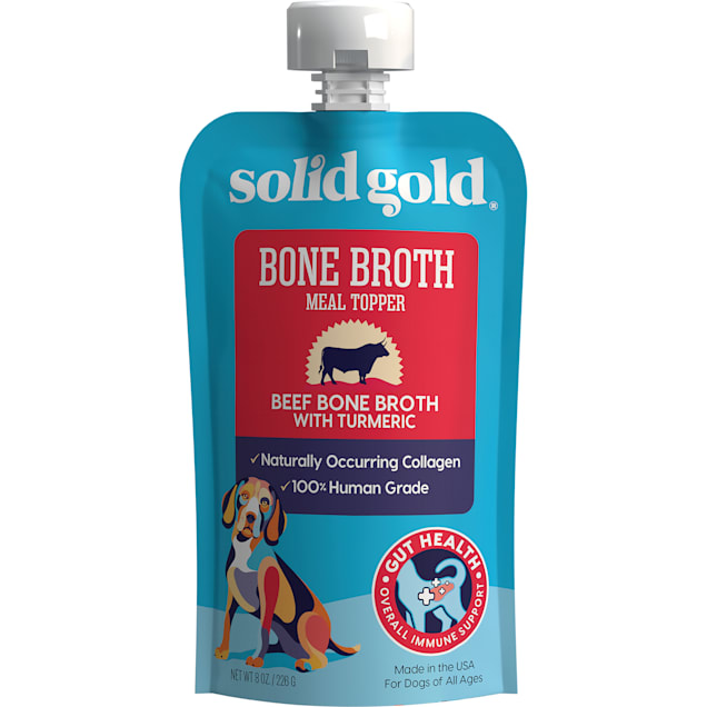Solid Gold Beef Bone Broth with Turmeric Topper Real Bone Broth with Collagen Wet Dog Food, 8 oz., Case of 12 - Carousel image #1