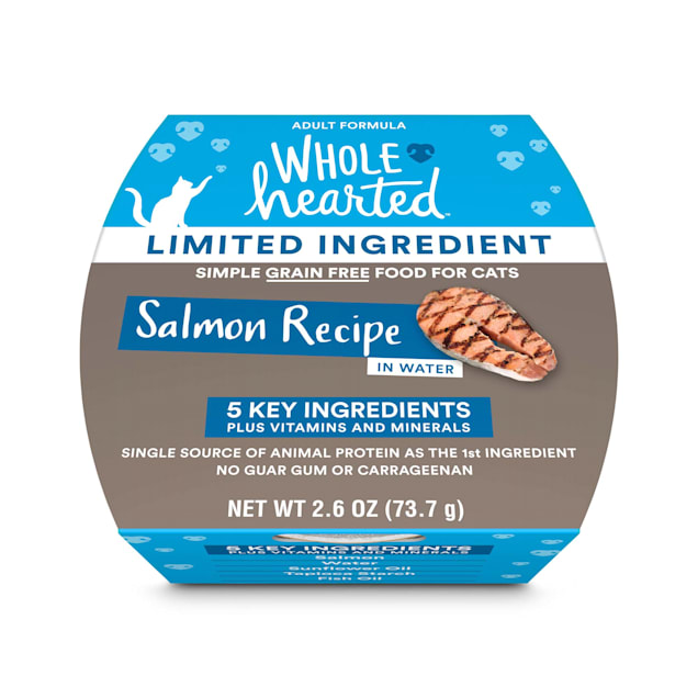 WholeHearted Limited Ingredient Diet Grain-Free Salmon Recipe Wet Adult Cat Food, 2.6 oz., Case of 8 - Carousel image #1