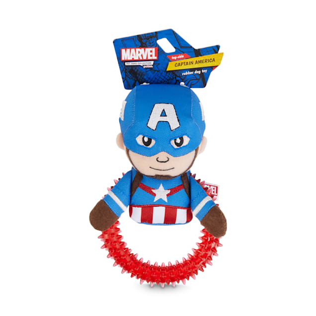 Marvel Avengers Captain America Spiny Ring Plush Dog Toy, Small - Carousel image #1