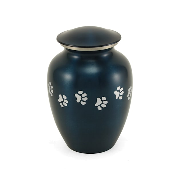 A Pet's Life Personalized Brass Paw Print Cremation Urn, Blue, Pet Memorial for Pet Weight Up to 80 lbs., Large - Carousel image #1