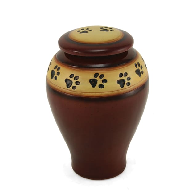 A Pet's Life Personalized Ceramic Paw Print Cremation Urn, Red, Pet Memorial for Pet Weight Up to 60 lbs., Medium - Carousel image #1