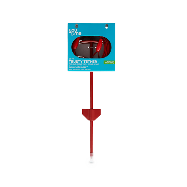 You & Me Trusty Tether Tie-Out Cable with Dome Stake for Dogs up to 100 lbs., 20' L, Large - Carousel image #1