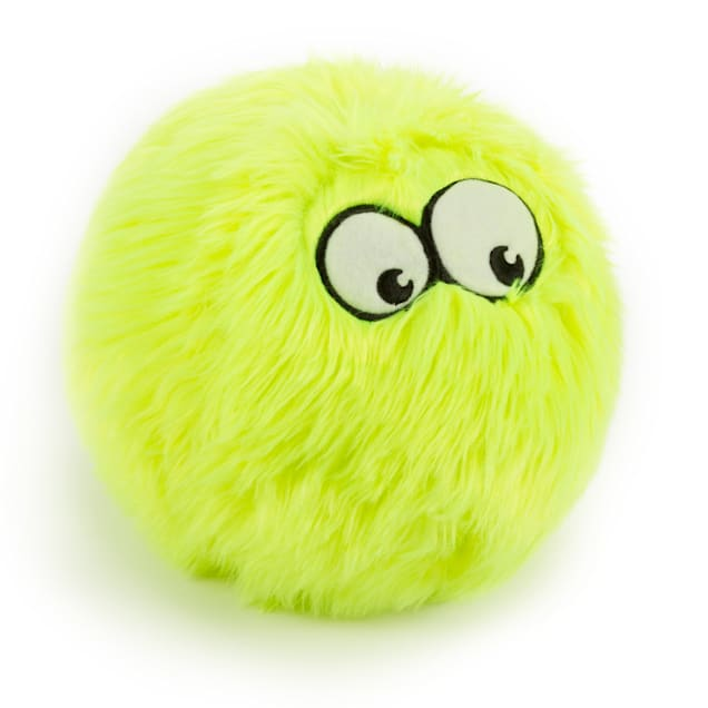 goDog Lime Furballz with Chew Guard Technology Durable Plush Squeaker Dog Toy, Large - Carousel image #1