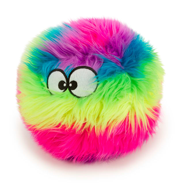 goDog Rainbow Furballz with Chew Guard Technology Durable Plush Squeaker Dog Toy, Large - Carousel image #1