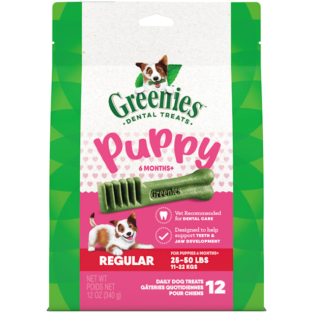 Greenies Puppy 6+ Months Regular Size Dental Treats, 12 oz., Count of 12 - Carousel image #1