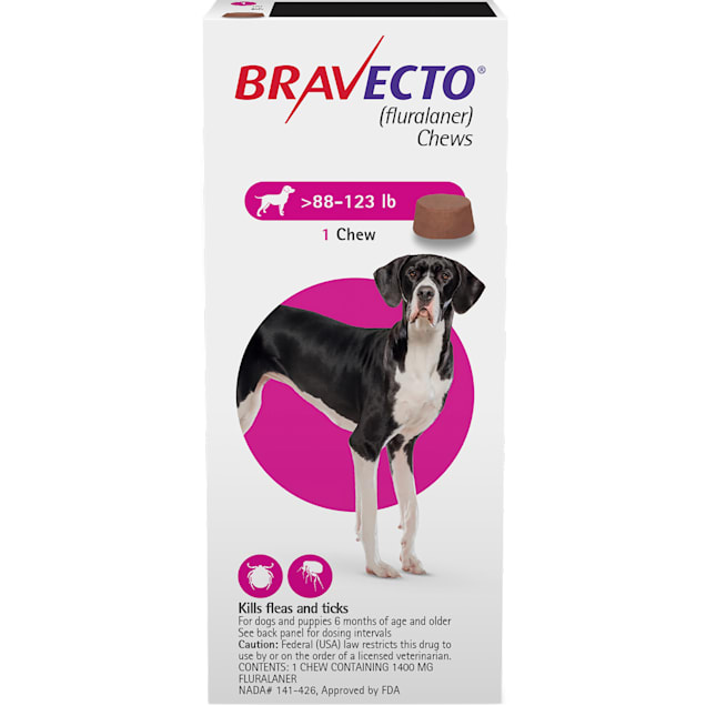 Bravecto Chews for Dogs 88-123 lbs, 3 Month Supply - Carousel image #1