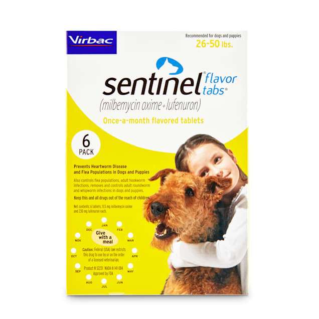 Sentinel Flavor Tablets for Dogs 26 to 50 lbs, 6 Month Supply - Carousel image #1
