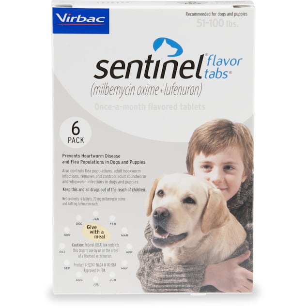 Sentinel Flavor Tablets for Dogs 51 to 100 lbs, 6 Month Supply - Carousel image #1