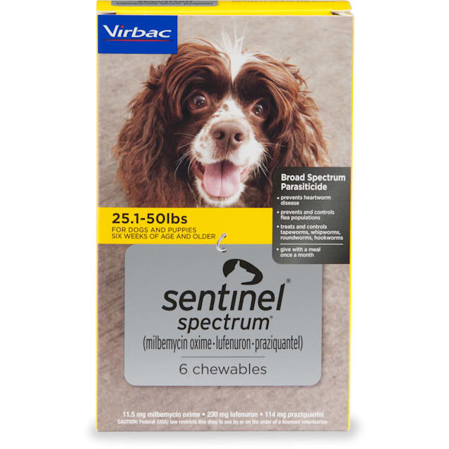 Sentinel Spectrum Chewables for Dogs 25.1 to 50 lbs, 6 Month Supply - Carousel image #1
