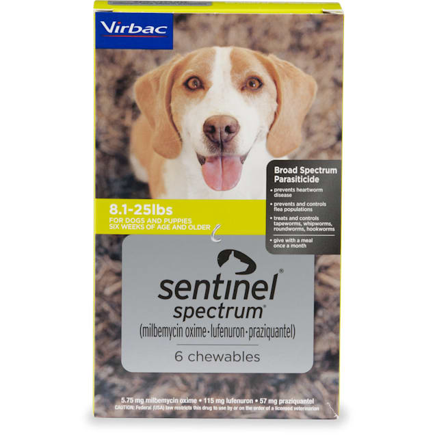 Sentinel Spectrum Chewables for Dogs 8.1 to 25 lbs, 6 Month Supply - Carousel image #1