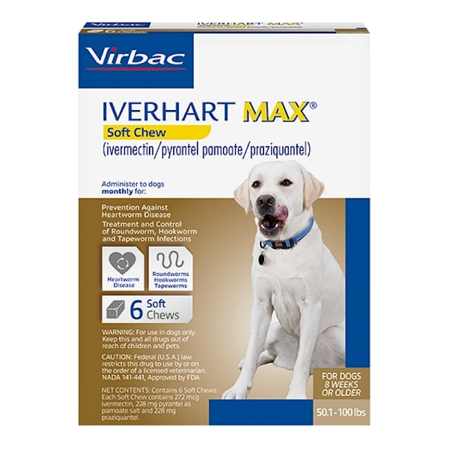 Iverhart Max Soft Chews for Dogs 50 to 100 lbs, 6 Month Supply - Carousel image #1