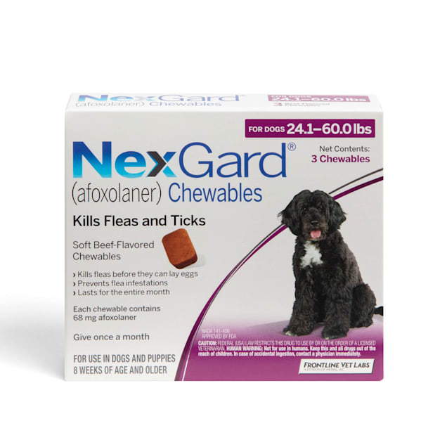 NexGard Chewables for Dogs 24.1 to 60 lbs, 3 Month Supply - Carousel image #1