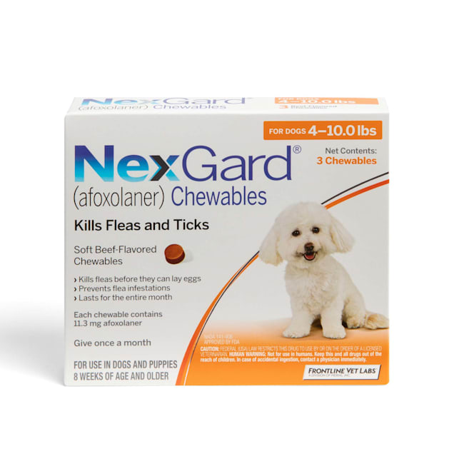 NexGard Chewables for Dogs 4 to 10 lbs, 3 Month Supply - Carousel image #1