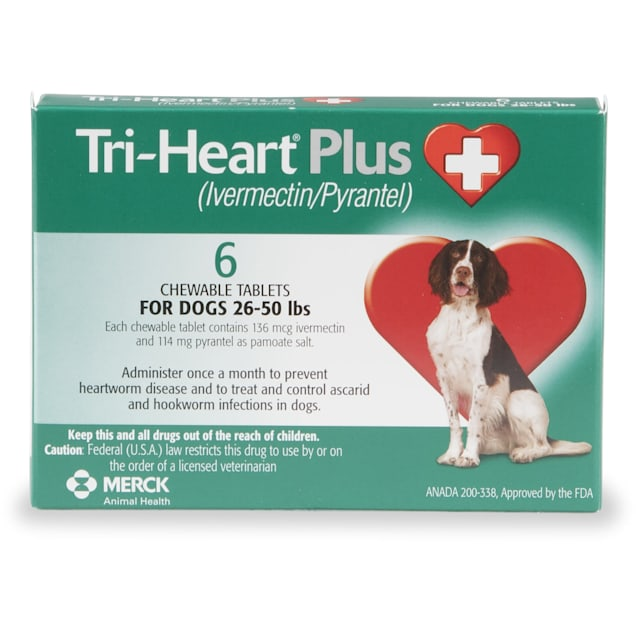 Tri-Heart Plus Chewable Tablets for Dogs 26 to 50 lbs, 6 Month Supply - Carousel image #1