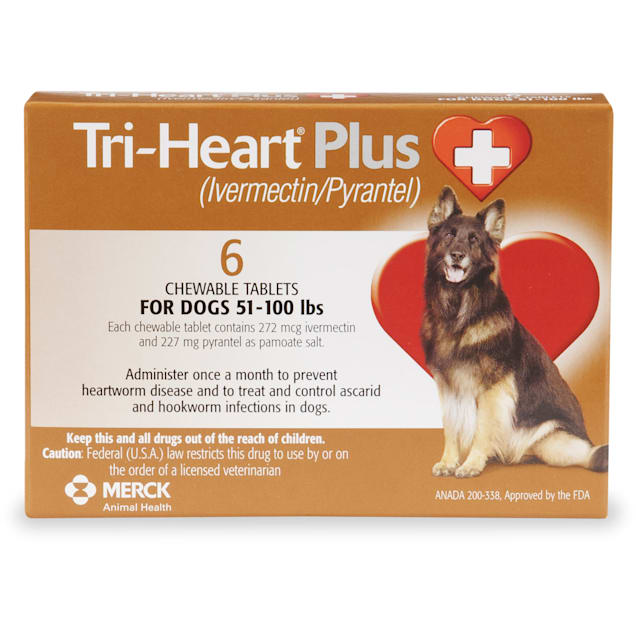 Tri-Heart Plus Chewable Tablets for Dogs 51 to 100 lbs, 6 Month Supply - Carousel image #1