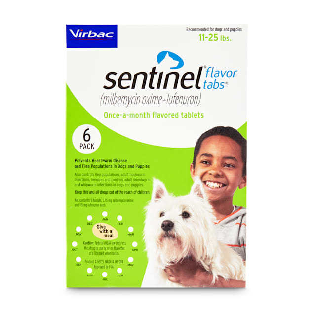 Sentinel Flavor Tablets for Dogs 11 to 25 lbs, 6 Month Supply - Carousel image #1