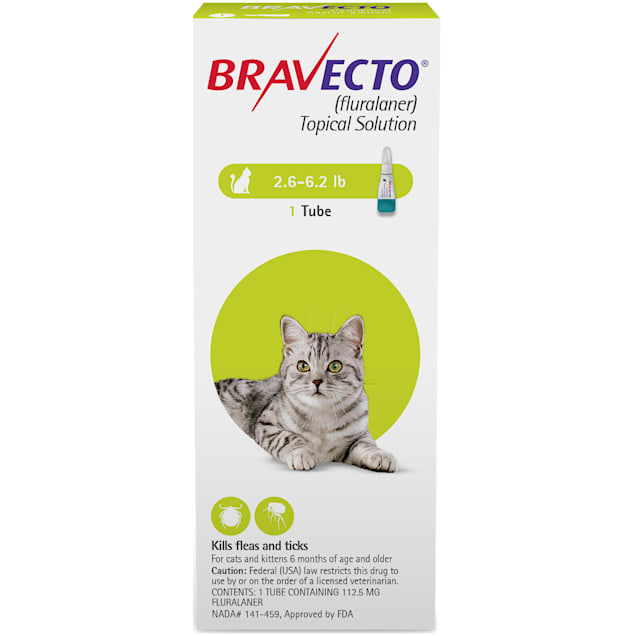 Bravecto Topical Solution for Cats 2.6-6.2 lbs, 3 Month Supply - Carousel image #1