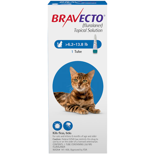 Bravecto Topical Solution for Cats 6.2-13.8 lbs, 3 Month Supply - Carousel image #1