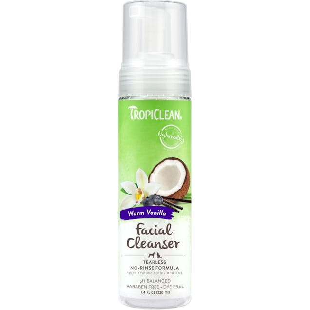 TropiClean Waterless No Rinse Facial Cleanser for Dogs and Cats, 7.4 fl. oz. - Carousel image #1