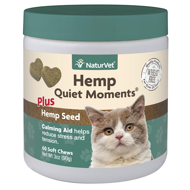 NaturVet Hemp Quiet Moments Plus Hemp Seed Soft Chews for Cats, Count of 60 - Carousel image #1